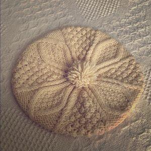 Vintage Hand Knit Beret in Cream